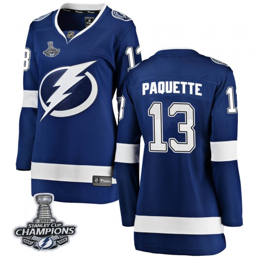 Cedric Paquette Tampa Bay Lightning Women's Fanatics Branded Blue Breakaway Home 2020 Stanley Cup Champions Jersey