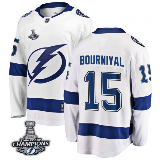 Michael Bournival Tampa Bay Lightning Youth Fanatics Branded White Breakaway Away 2020 Stanley Cup Champions Jersey