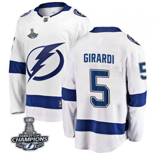 Dan Girardi Tampa Bay Lightning Youth Fanatics Branded White Breakaway Away 2020 Stanley Cup Champions Jersey