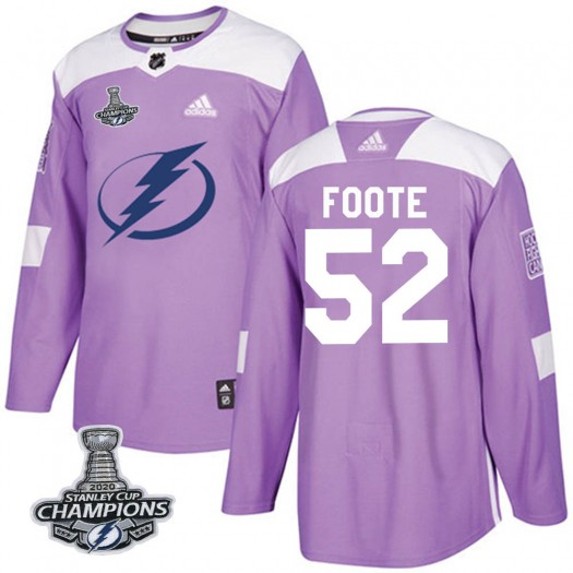 Cal Foote Tampa Bay Lightning Men's Adidas Authentic Purple Fights Cancer Practice 2020 Stanley Cup Champions Jersey