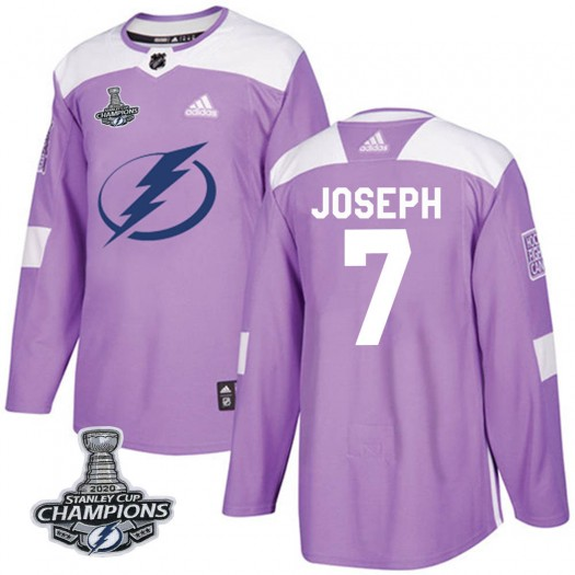 Mathieu Joseph Tampa Bay Lightning Men's Adidas Authentic Purple Fights Cancer Practice 2020 Stanley Cup Champions Jersey