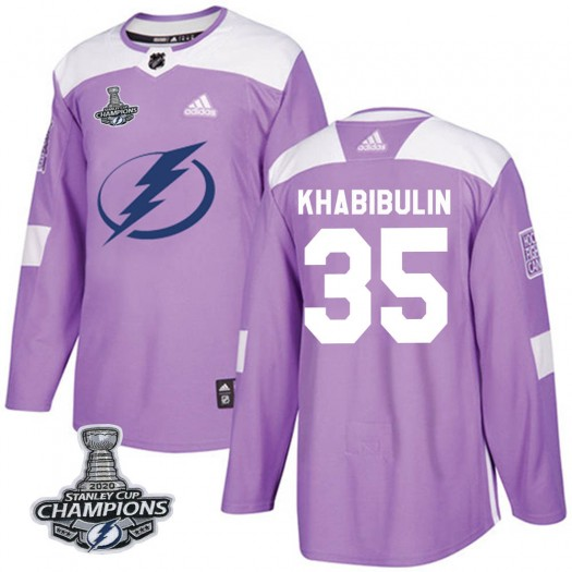 Nikolai Khabibulin Tampa Bay Lightning Men's Adidas Authentic Purple Fights Cancer Practice 2020 Stanley Cup Champions Jersey