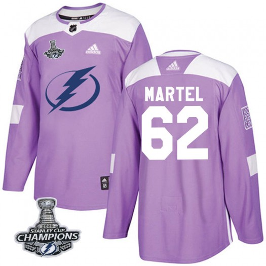 Danick Martel Tampa Bay Lightning Men's Adidas Authentic Purple Fights Cancer Practice 2020 Stanley Cup Champions Jersey
