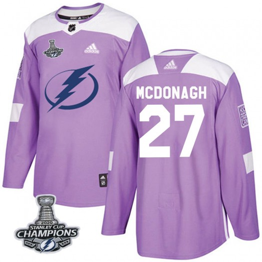 Ryan McDonagh Tampa Bay Lightning Men's Adidas Authentic Purple Fights Cancer Practice 2020 Stanley Cup Champions Jersey