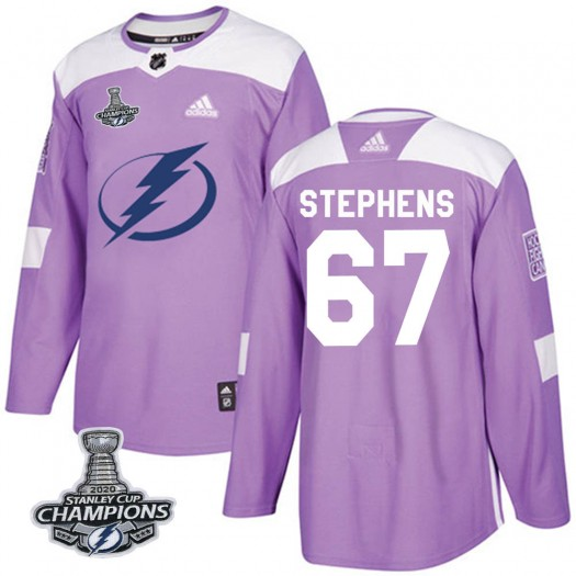 Mitchell Stephens Tampa Bay Lightning Men's Adidas Authentic Purple Fights Cancer Practice 2020 Stanley Cup Champions Jersey
