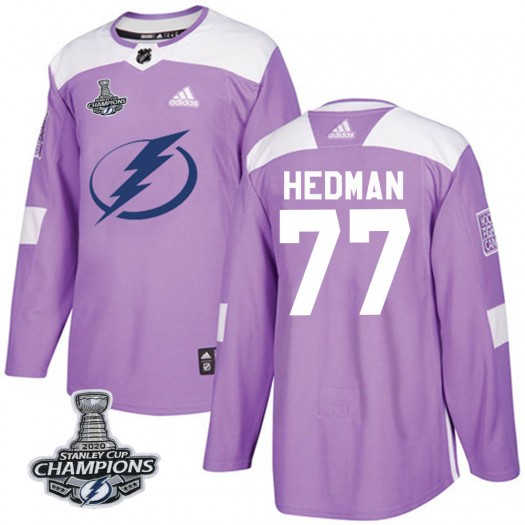 Victor Hedman Tampa Bay Lightning Youth Adidas Authentic Purple Fights Cancer Practice 2020 Stanley Cup Champions Jersey