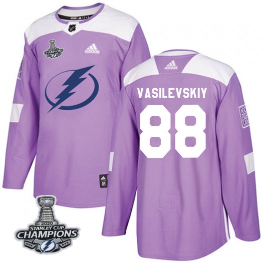 Andrei Vasilevskiy Tampa Bay Lightning Youth Adidas Authentic Purple Fights Cancer Practice 2020 Stanley Cup Champions Jersey