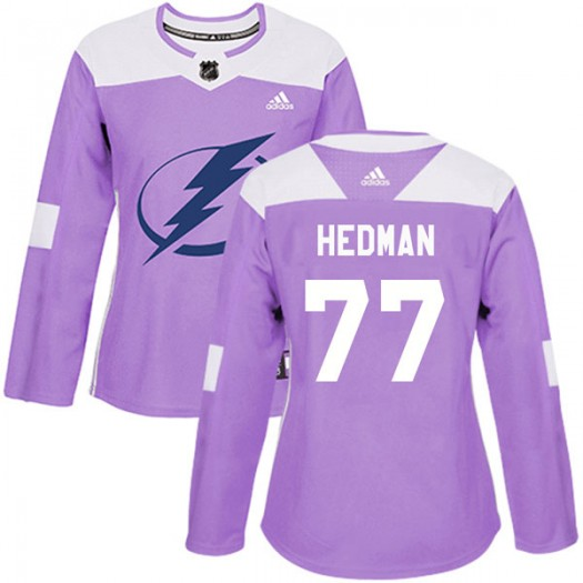 Victor Hedman Tampa Bay Lightning Women's Adidas Authentic Purple Fights Cancer Practice Jersey