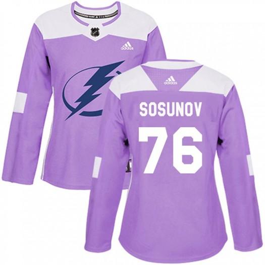 Oleg Sosunov Tampa Bay Lightning Women's Adidas Authentic Purple Fights Cancer Practice Jersey