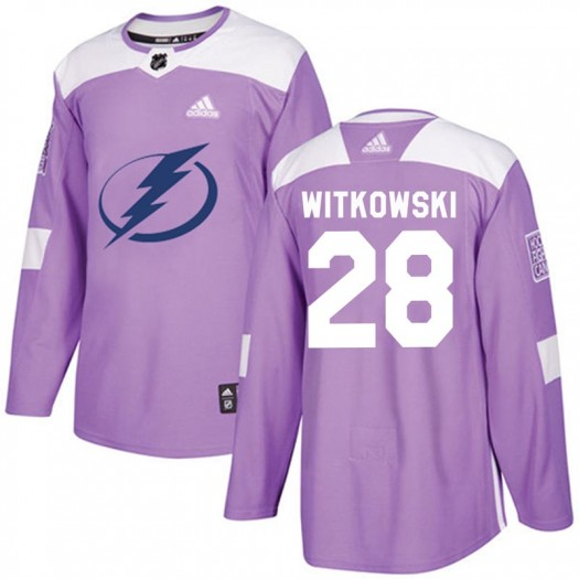Luke Witkowski Tampa Bay Lightning Men's Adidas Authentic Purple Fights Cancer Practice Jersey