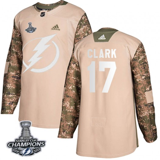 Wendel Clark Tampa Bay Lightning Youth Adidas Authentic Camo Veterans Day Practice 2020 Stanley Cup Champions Jersey