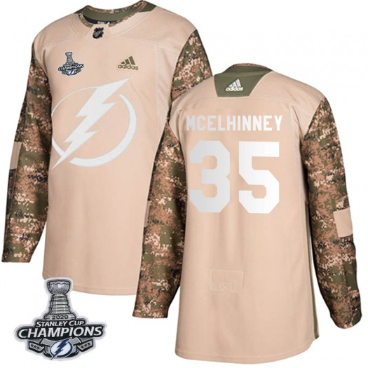 Curtis McElhinney Tampa Bay Lightning Youth Adidas Authentic Camo Veterans Day Practice 2020 Stanley Cup Champions Jersey