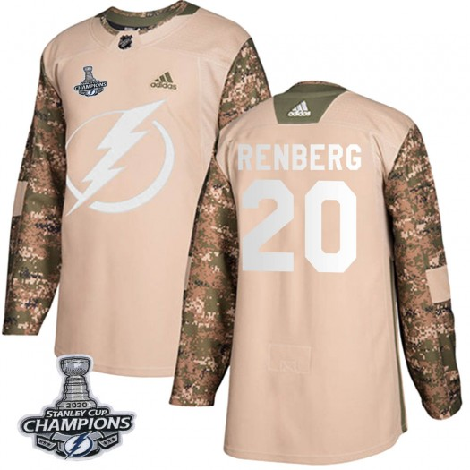 Mikael Renberg Tampa Bay Lightning Youth Adidas Authentic Camo Veterans Day Practice 2020 Stanley Cup Champions Jersey