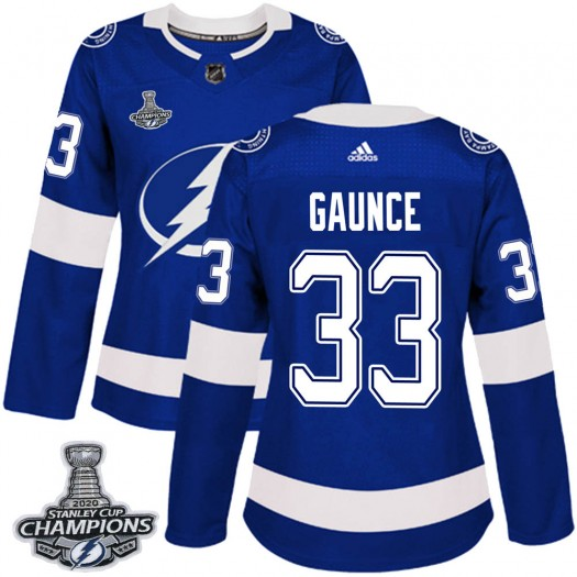 Cameron Gaunce Tampa Bay Lightning Women's Adidas Authentic Blue Home 2020 Stanley Cup Champions Jersey