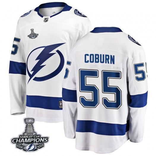Braydon Coburn Tampa Bay Lightning Men's Fanatics Branded White Breakaway Away 2020 Stanley Cup Champions Jersey
