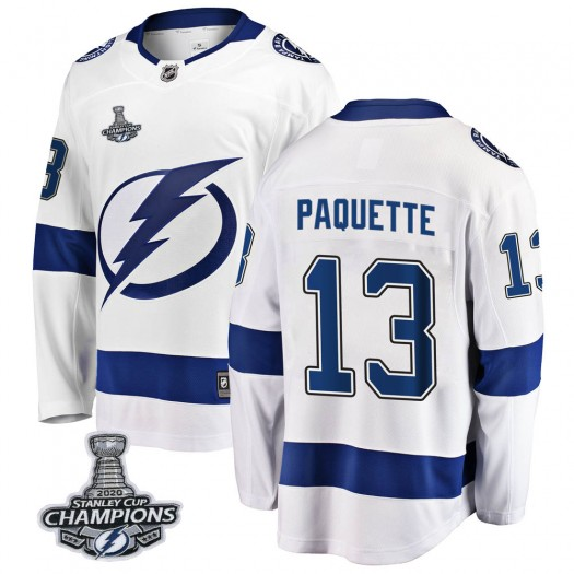 Cedric Paquette Tampa Bay Lightning Men's Fanatics Branded White Breakaway Away 2020 Stanley Cup Champions Jersey