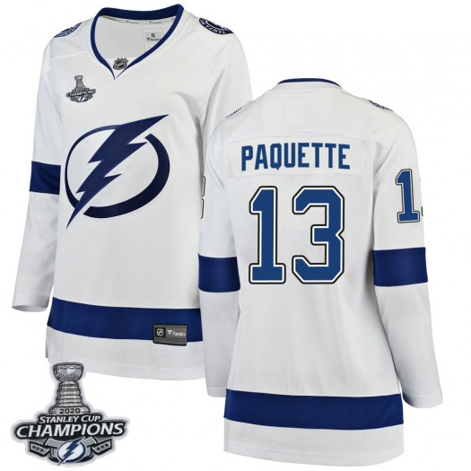 Cedric Paquette Tampa Bay Lightning Women's Fanatics Branded White Breakaway Away 2020 Stanley Cup Champions Jersey