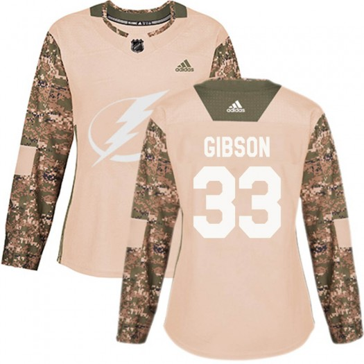 Christopher Gibson Tampa Bay Lightning Women's Adidas Authentic Camo Veterans Day Practice Jersey
