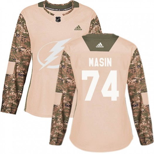 Dominik Masin Tampa Bay Lightning Women's Adidas Authentic Camo Veterans Day Practice Jersey