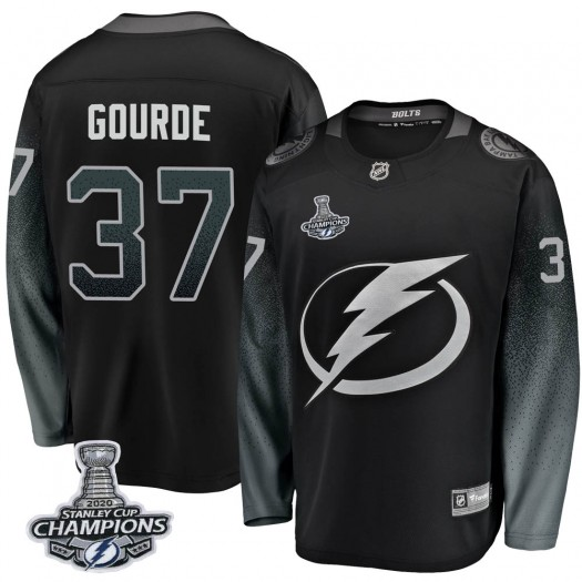 Yanni Gourde Tampa Bay Lightning Youth Fanatics Branded Black Breakaway Alternate 2020 Stanley Cup Champions Jersey