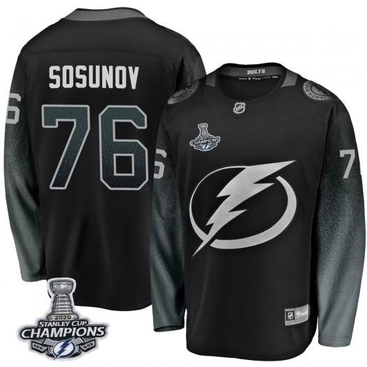 Oleg Sosunov Tampa Bay Lightning Youth Fanatics Branded Black Breakaway Alternate 2020 Stanley Cup Champions Jersey