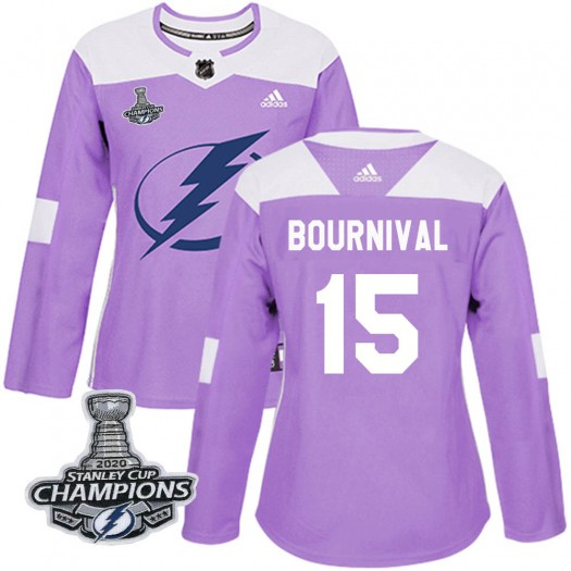 Michael Bournival Tampa Bay Lightning Women's Adidas Authentic Purple Fights Cancer Practice 2020 Stanley Cup Champions Jersey