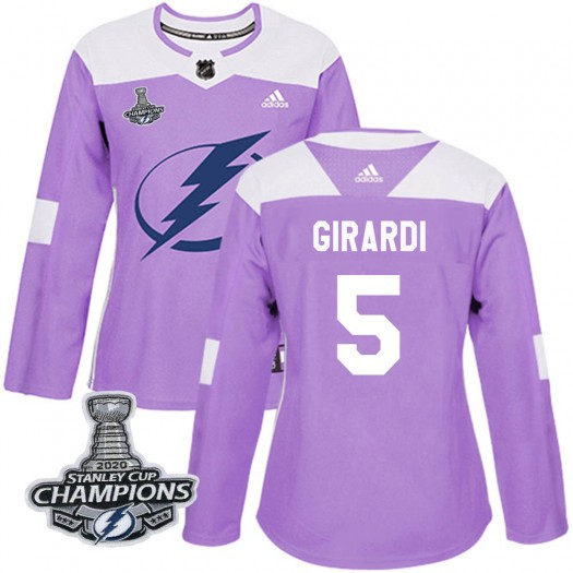 Dan Girardi Tampa Bay Lightning Women's Adidas Authentic Purple Fights Cancer Practice 2020 Stanley Cup Champions Jersey