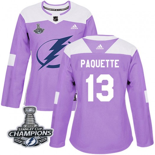 Cedric Paquette Tampa Bay Lightning Women's Adidas Authentic Purple Fights Cancer Practice 2020 Stanley Cup Champions Jersey