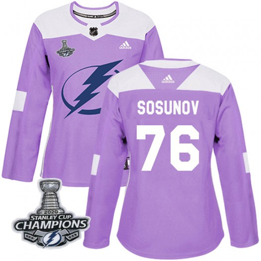 Oleg Sosunov Tampa Bay Lightning Women's Adidas Authentic Purple Fights Cancer Practice 2020 Stanley Cup Champions Jersey