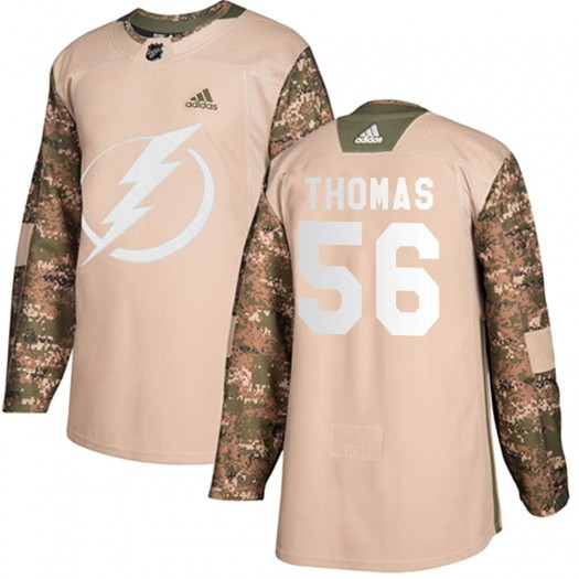 Ben Thomas Tampa Bay Lightning Youth Adidas Authentic Camo Veterans Day Practice Jersey