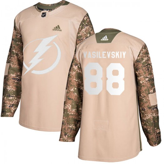 Andrei Vasilevskiy Tampa Bay Lightning Youth Adidas Authentic Camo Veterans Day Practice Jersey