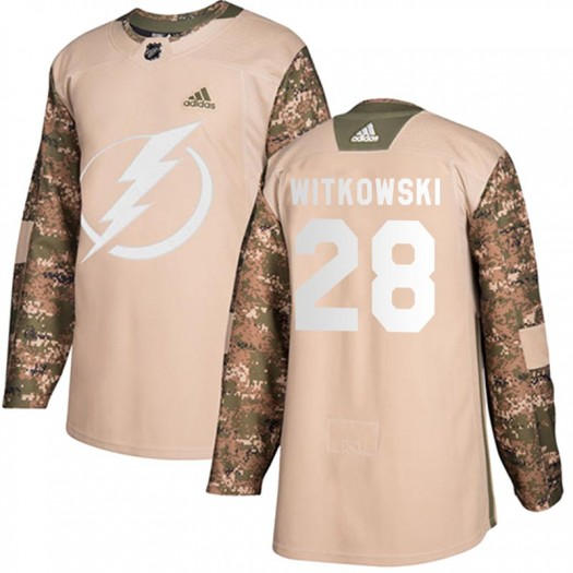 Luke Witkowski Tampa Bay Lightning Youth Adidas Authentic Camo Veterans Day Practice Jersey