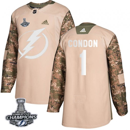 Mike Condon Tampa Bay Lightning Men's Adidas Authentic Camo Veterans Day Practice 2020 Stanley Cup Champions Jersey