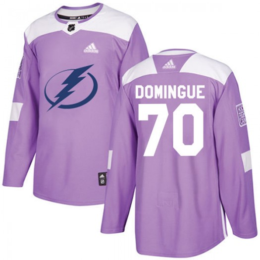Louis Domingue Tampa Bay Lightning Youth Adidas Authentic Purple Fights Cancer Practice Jersey