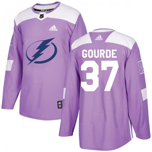 Yanni Gourde Tampa Bay Lightning Youth Adidas Authentic Purple Fights Cancer Practice Jersey