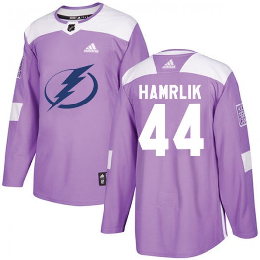 Roman Hamrlik Tampa Bay Lightning Youth Adidas Authentic Purple Fights Cancer Practice Jersey