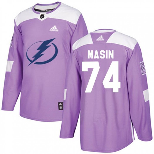 Dominik Masin Tampa Bay Lightning Youth Adidas Authentic Purple Fights Cancer Practice Jersey