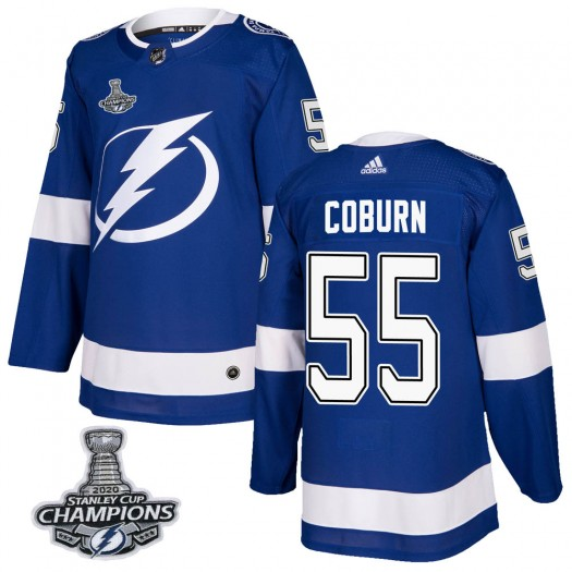 Braydon Coburn Tampa Bay Lightning Men's Adidas Authentic Blue Home 2020 Stanley Cup Champions Jersey
