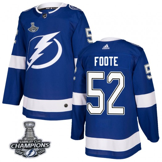 Cal Foote Tampa Bay Lightning Men's Adidas Authentic Blue Home 2020 Stanley Cup Champions Jersey
