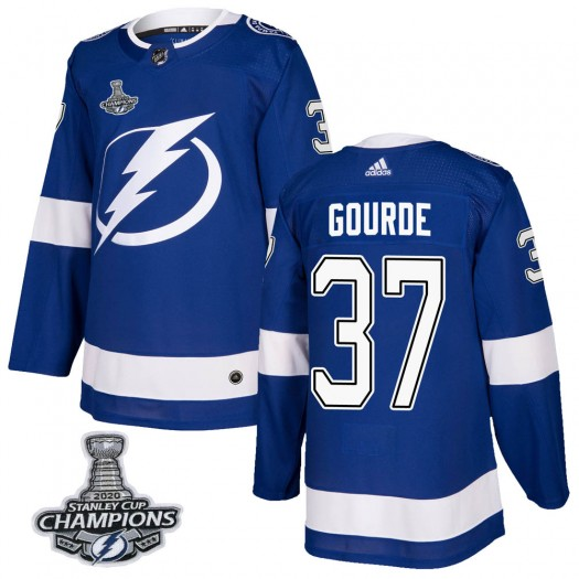 Yanni Gourde Tampa Bay Lightning Men's Adidas Authentic Blue Home 2020 Stanley Cup Champions Jersey