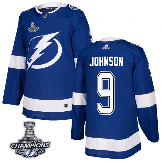 Tyler Johnson Tampa Bay Lightning Men's Adidas Authentic Blue Home 2020 Stanley Cup Champions Jersey
