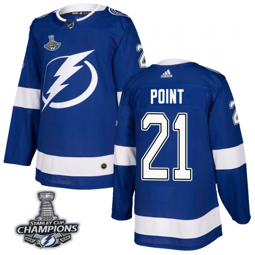 Brayden Point Tampa Bay Lightning Men's Adidas Authentic Blue Home 2020 Stanley Cup Champions Jersey