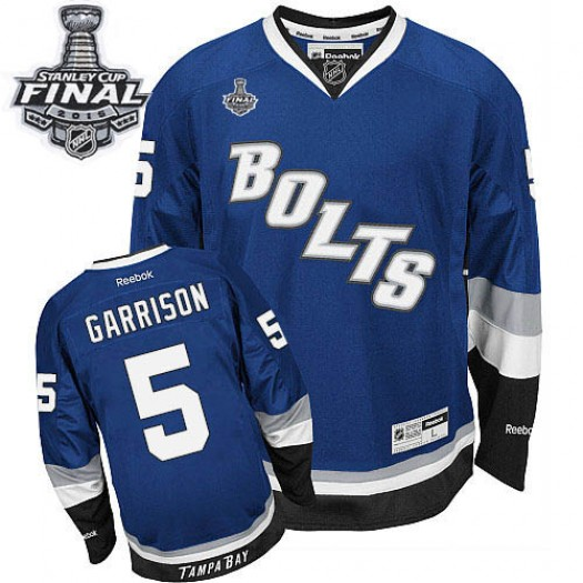 Jason Garrison Tampa Bay Lightning Men's Reebok Authentic Royal Blue Third 2015 Stanley Cup Patch Jersey