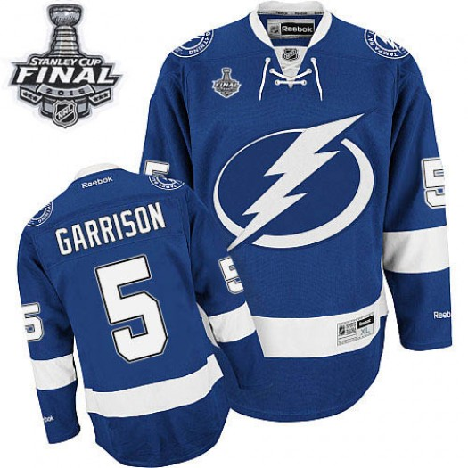 Jason Garrison Tampa Bay Lightning Men's Reebok Premier Royal Blue Home 2015 Stanley Cup Patch Jersey