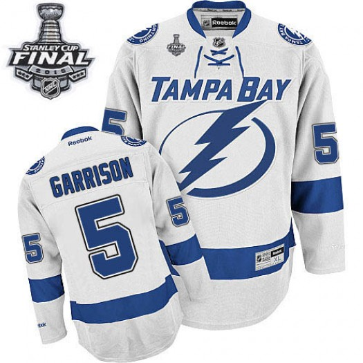 Jason Garrison Tampa Bay Lightning Men's Reebok Premier White Away 2015 Stanley Cup Patch Jersey