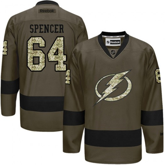 Matthew Spencer Tampa Bay Lightning Men's Reebok Authentic Green Salute to Service Jersey