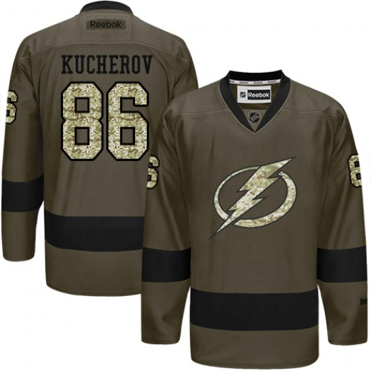Nikita Kucherov Tampa Bay Lightning Men's Reebok Authentic Green Salute to Service Jersey