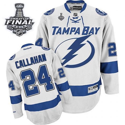 Ryan Callahan Tampa Bay Lightning Men's Reebok Authentic White Away 2015 Stanley Cup Patch Jersey