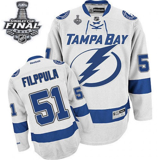 Valtteri Filppula Tampa Bay Lightning Men's Reebok Premier White Away 2015 Stanley Cup Patch Jersey