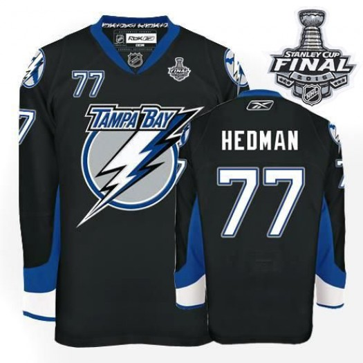 Victor Hedman Tampa Bay Lightning Men's Reebok Authentic Black 2015 Stanley Cup Patch Jersey